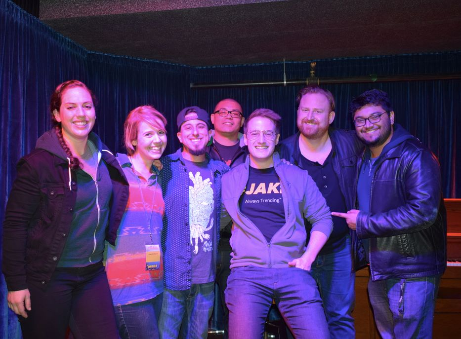 "Another great show of ""I Think I'd Be Good At That"", a live comedy showcase I co-produce with my comedian husband Drew Harmon. Pictured here from left to right: Caitlin Peluffo,  Lauren Davis, Chris Storin, Ed Hill, newbie Eric Simons, my rock Drew, and Sid Singh at Doc's Lab in San Francisco. The show was featured during the 17th annual SF Sketchfest."