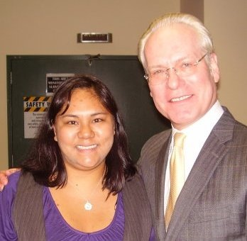 "One of the best days of my TV News Producing life. I met and spoke with Tim Gunn while he was promoting Gunn's Golden Rules on the KRON 4 Morning News. I showed him my ""lookbook"" and he critiqued it! I was up all night but determined to look good for him, hence the vest and bright pop of purple. Ignore the hair and disappearance of makeup people. I was up working since midnight! Make it work!"