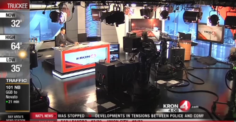 News ticker, camera shot direction, and audio clip creation inside the KRON 4 News studio.