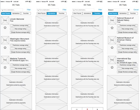 These wireframes show how the destinations list would have behaved with favorites and different types of sorting.