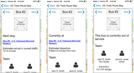 With GPS units on the buses, DC Trails can determine where their buses are at any time and relay that to the users.