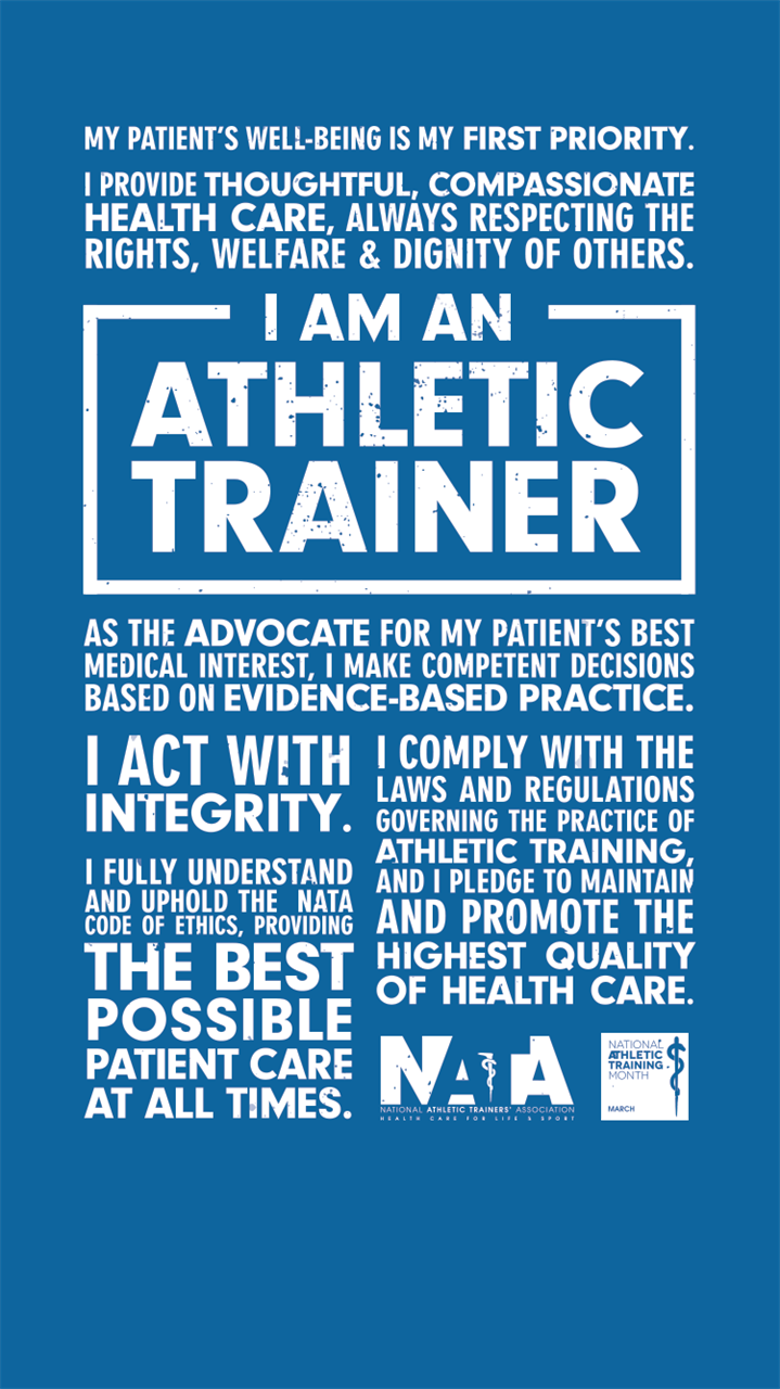 What is Athletic Training?  Athletic training is a healthcare profession that encompasses the prevention, examination, diagnosis, treatment, and rehabilitation of emergent, acute, or chronic injuries and medical conditions. Athletic training is recognized by the American Medical Association (AMA), Health Resources Services Administration (HRSA) and the Department of Health and Human Services (HHS) as an allied health care profession.  Who are Athletic Trainers?  Athletic trainers (ATs) are highly qualified, multi-skilled health care professionals who collaborate with physicians to provide preventative services, emergency care, clinical diagnosis, therapeutic intervention, and rehabilitation of injuries and medical conditions. Athletic trainers work under the direction of a physician as prescribed by state licensure statutes.  How is Athletic Training regulated?  Athletic trainers must graduate from an accredited athletic training program and successfully pass the Board of Certification (BOC) Exam. Each state has different credentials required in order to practice as an Athletic trainer.Athletic trainers are licensed or regulated in 49 states (except California)and in the District of Columbia. In Iowa Athletic trainers are licensed by the Iowa Board of Athletic Training a branch of the Iowa Department of Public Health. Athletic trainers are also qualified to apply for a National Provider Identifier (NPI) as a health care professional.   Why should I use an Athletic Trainer?  Athletic trainers provide medical services to all types of patients, not just athletes participating in sports, and can work in a variety of job settings including: physical therapy clinics, hospitals, physicians clinics, industrial settings, high school athletics, collegiate athletics, professional athletics, and the olympics.   Athletic trainers relieve widespread and future workforce shortages in primary care support and outpatient rehab professions and provide an unparalleled continuum of car