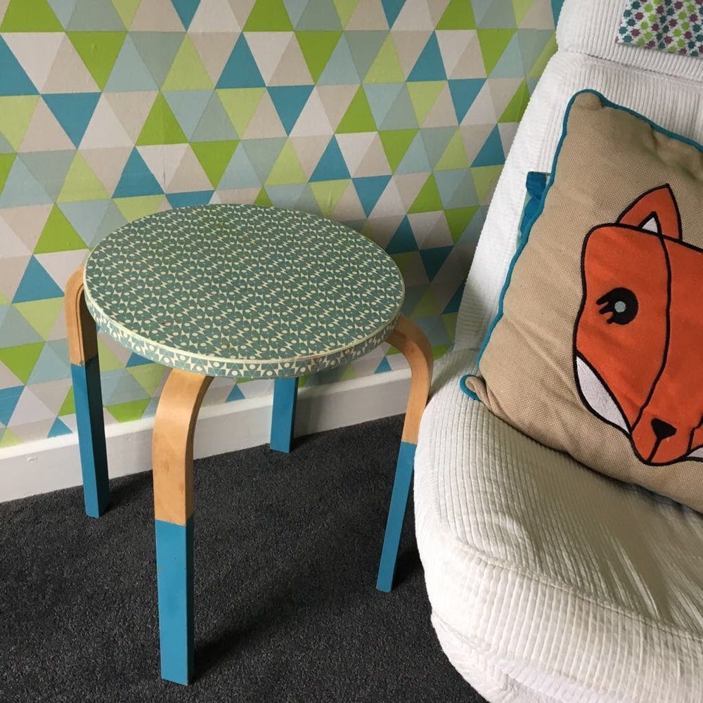 Ikea side table -papered top and dipped legs