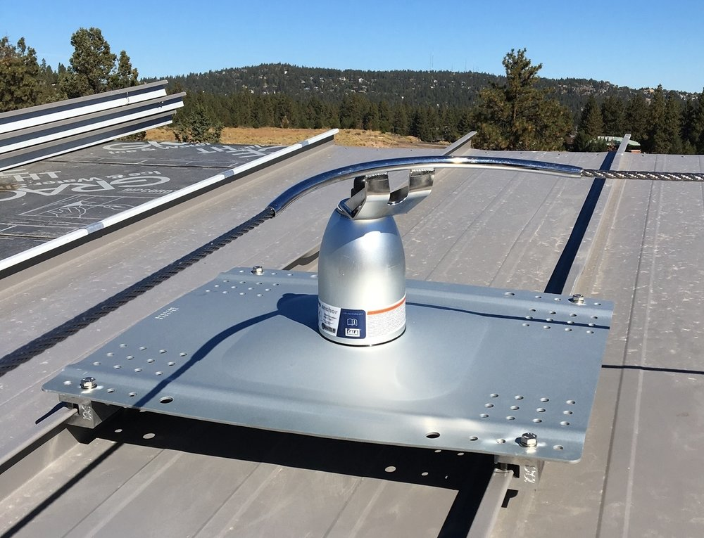 RoofSafe anchor on standing seam roof of a university building