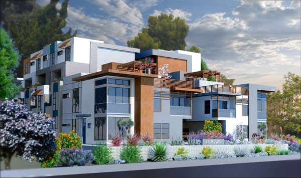 Uptown3642 7th Ave.San Diego, CA - 10 luxury contemporary townhomes in the heart of the Uptown district.  Homes are 3 & 4 level design ranging from 2,015 to 2,246 sq. ft. with 2 & 3 bedrooms, up to 3 baths, 2 & 3-car direct-access garages.  These homes have private elevators in most plans.  Occupancy is anticipated to be November or December, 2017.