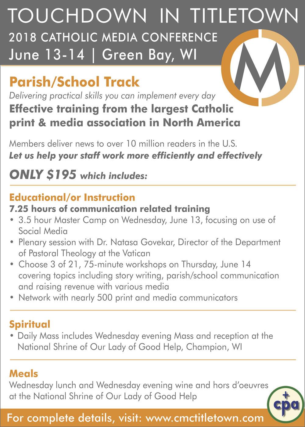 Large Promo Ad #4Parish/School Focus - PDF format file with 5