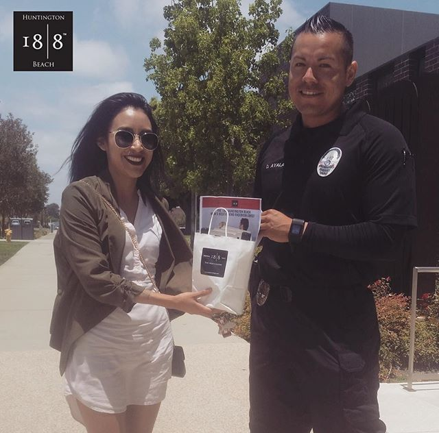 Our awesome barber, Jessica, spreading some 18|8 joy to our local PD!! 💈✂️👮