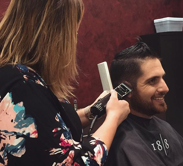 Look good, feel good✂️💈 (Our talented stylist, Steph K, and one of her dapper clients.)