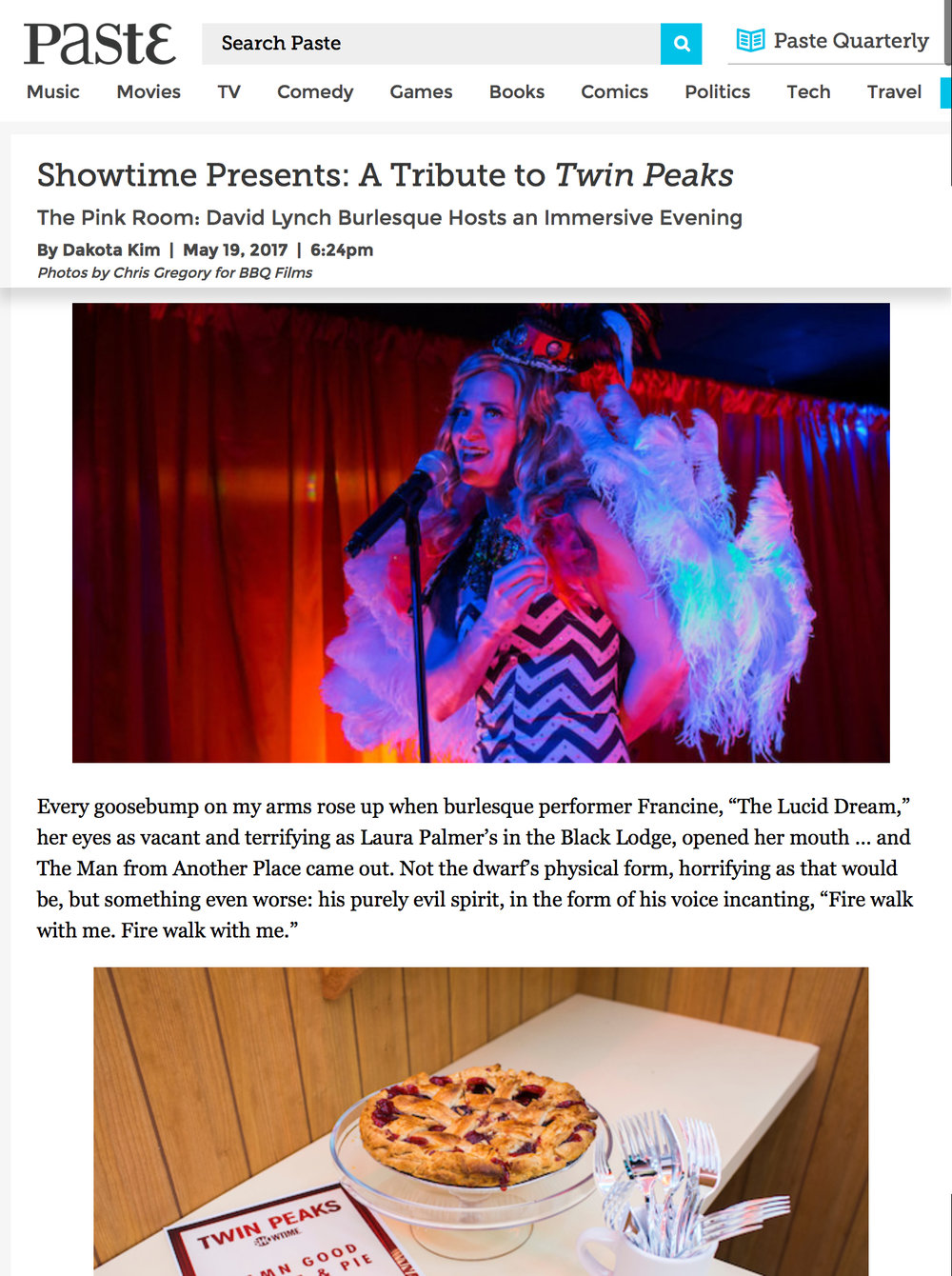 The Pink Room Burlesque in Paste Magazine