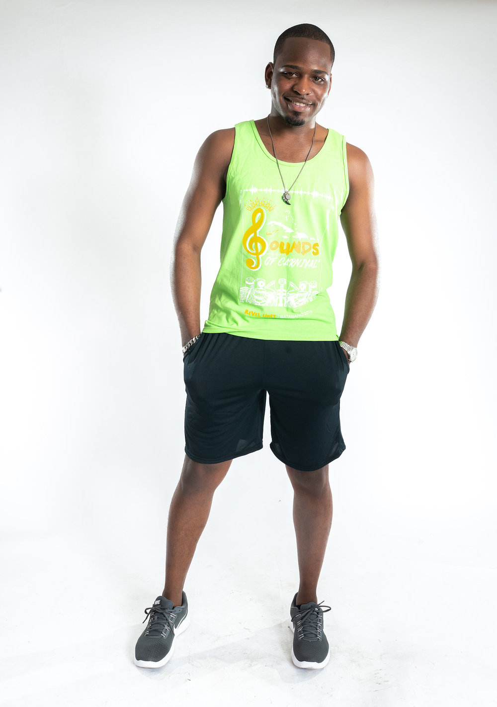 ON HIM: SOCA GREEN    (Image is to show Soca Green colour option only. T-Shirt is the only style option now available.)