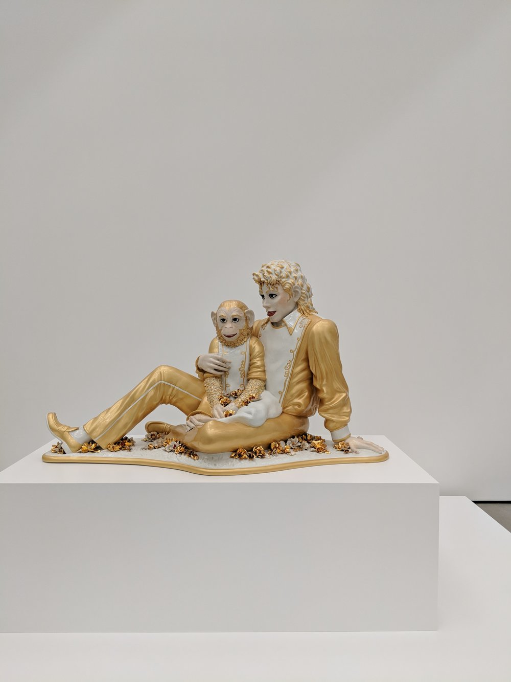 """Michael Jackson and Bubbles,"" by Jeff Koons, as seen at The Broad."