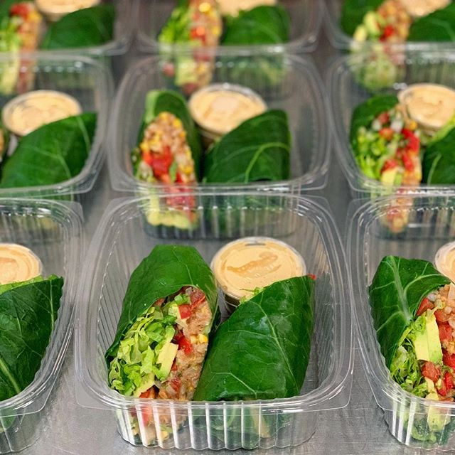 "One of the biggest misconceptions about eating healthy is ""I don't want to have to eat salads e v e r y d a y"" Great👍🏼 cuz we don't either... Our goal is to make healthy food, not only convenient, but approachable. Take this month's Green Burrito for example...filled with seasoned rice & beans, roasted corn, pico de gallo, shredded lettuce, and avocado. Wrapped up in a lightly blanched collard green leaf and served with our house-made cashew nacho cheese. All the flavor, all the nutrients, and zero guilt🌯 #yesplz"