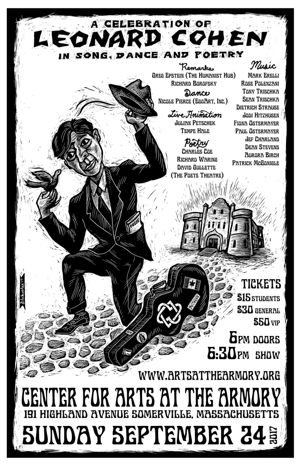 A Celebration of Leonard Cohen in Music, Dance, and Poetry - Cornerscape produced a celebration of Leonard Cohen's work, performed on September 24, 2017 to a sold-out crowd of 300 at the Somerville Armory. We oversaw: event design, production, marketing, permitting, and all logistics. Beautiful poster by Dan Blakeslee. Slightly blurry iPhone photos below by me.