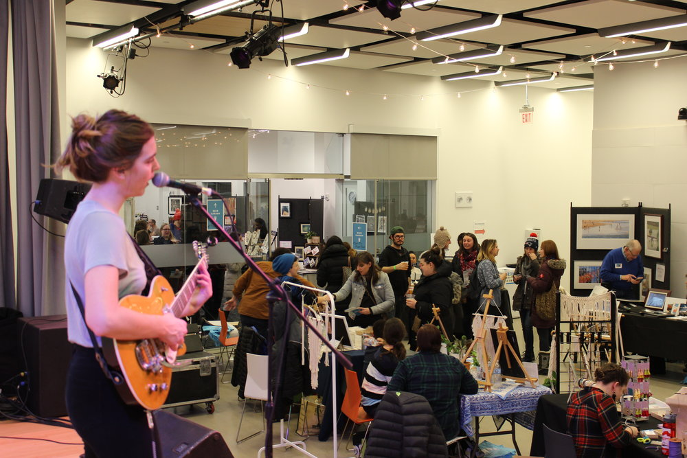 Ali McGuirk plays at the inaugural Allston-Brighton Winter Market