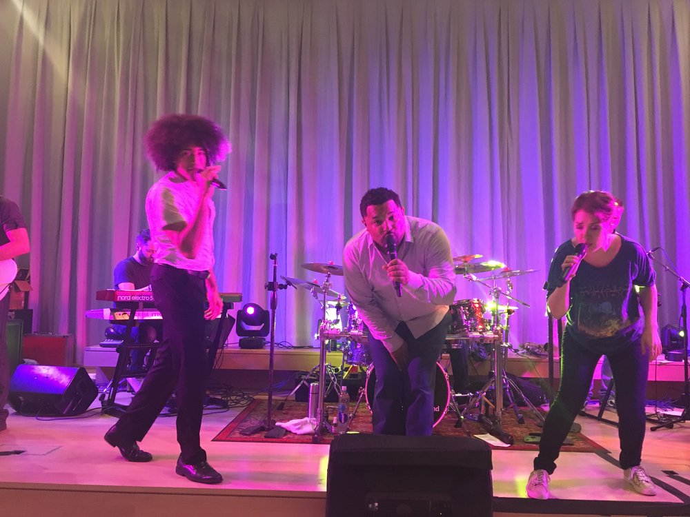 One of our favorite party bands anchors the main dance space at a fall 2018 grand opening celebration.