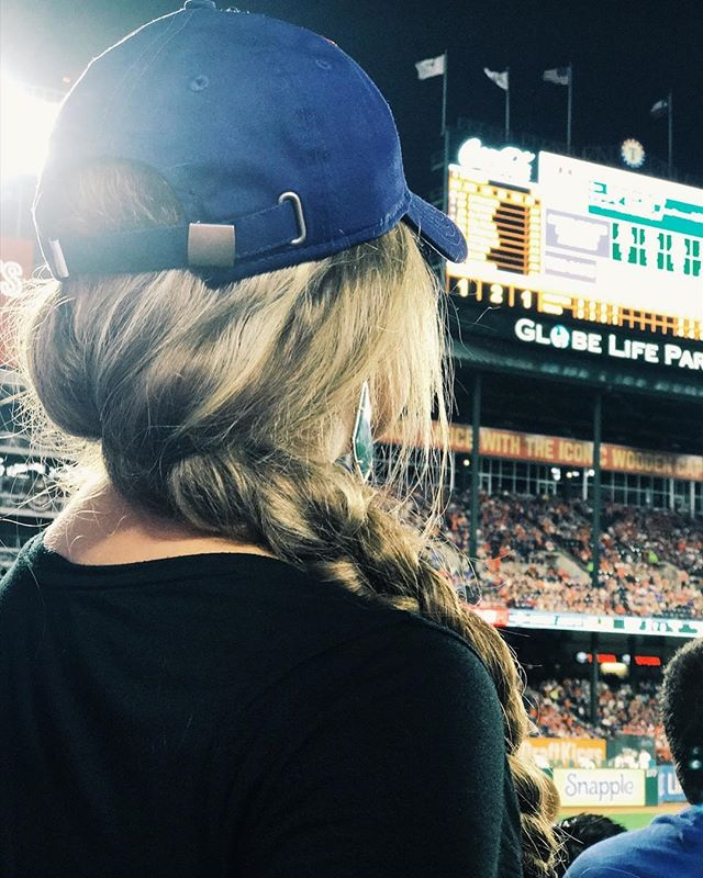 Rockin the baseball cap AND a braid. Because, girly girls like sports too! 😘