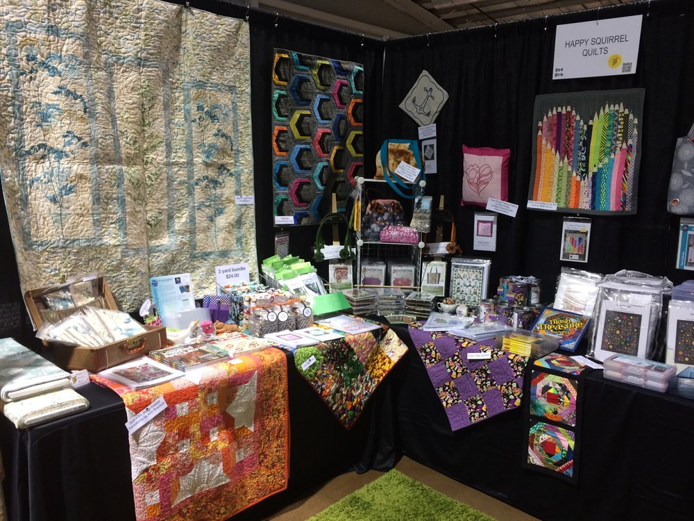 Happy Squirrel Quilts booth 804/806 at the Rocky Mountain Quilt Festival August 17-19, 2017.