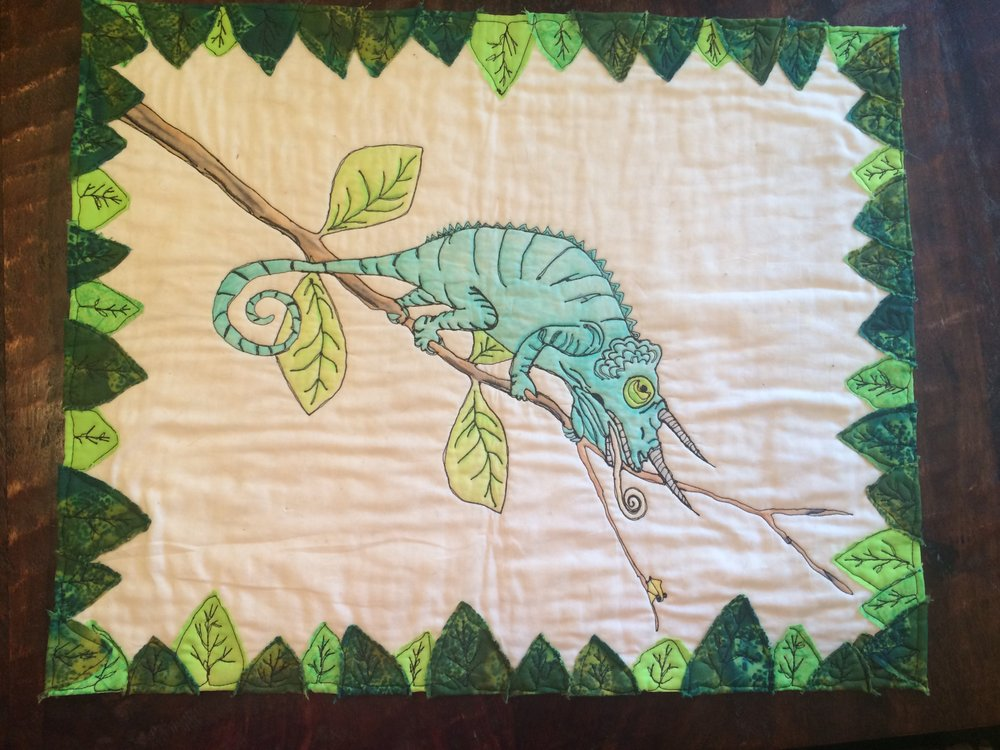 Free Motion Sketching - Skill Level: BeginnerClass Size: 4 to 25Approx. Class Length: 4-5Cost: $25 per personAges: 16+Description: Learn to sketch with your free motion stitching. This project will help you gain the confidence to create original free motion projects. Other beginner sketching patterns are available in addition the chameleon. In addition to sketching with thread, we will explore coloring on fabric.