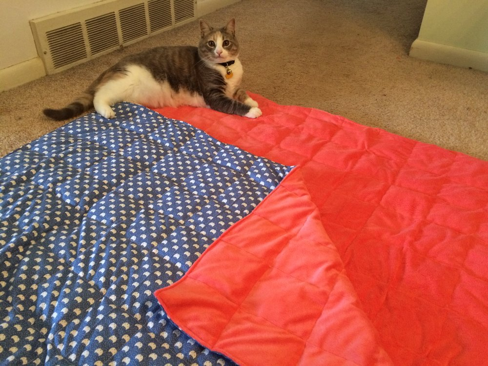 Eowyn Posing with the finished blanket.