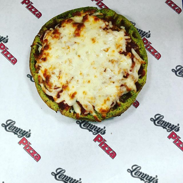 Look whats cooking at Lenny's Pizza. Falafel Waffle Pizza. Come by and try yours today. Lenny's Pizza