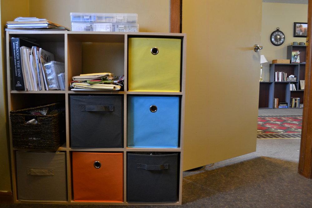 Sewing room, storage cubbies