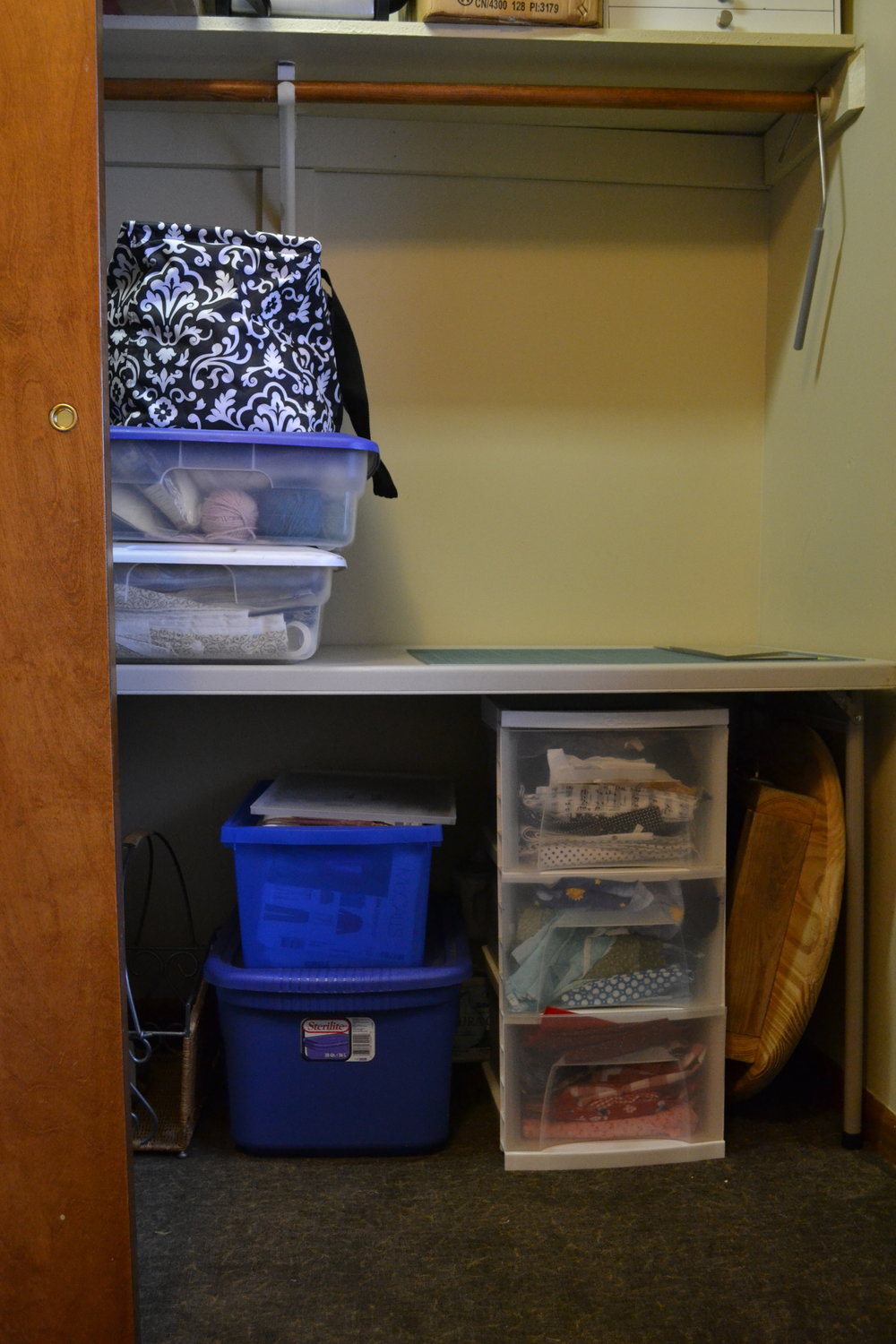 Craft table in closet, sewing space