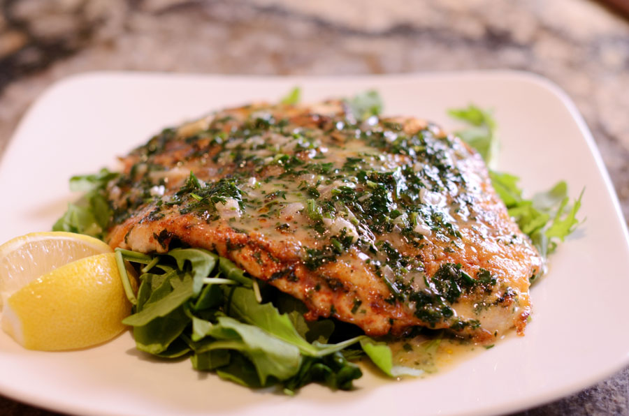 Chicken pillared with spinach, arugula, lemon-parsley butter