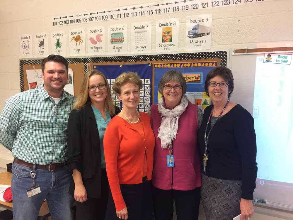 2017 Horne Street: L-R, SEED BOD members Matt Keane, Anna Frankenfield, Allison Neal, with Linda Smart (applicant) and Principal Patty Driscoll