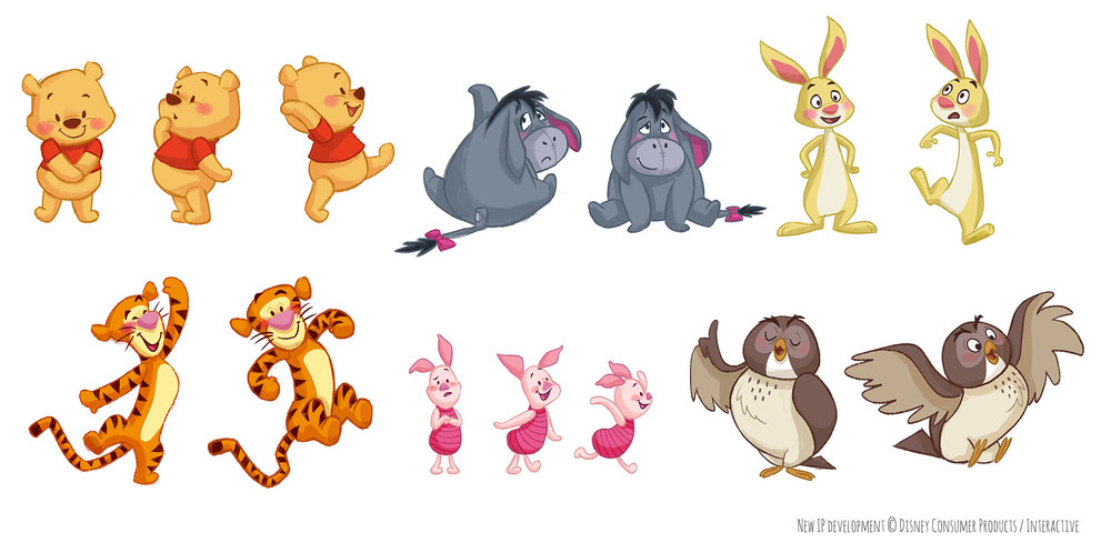 Character explorations for a more stylized look to Winnie the Pooh