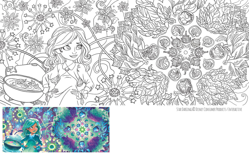 Layout, pattern design and final inking.  Finished color on bottom left by Disney Publishing artists