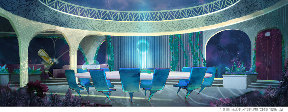Repainted the background and created different patterns and textures for the Star Darlings short.  Original background on left by Disney Publishing artists