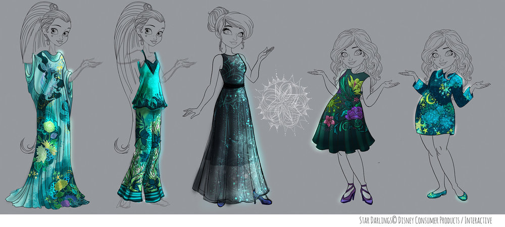 Costume design for Star Darlings dress up pool