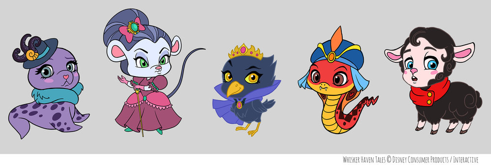 Character design for villain pets of Whisker Haven Tales