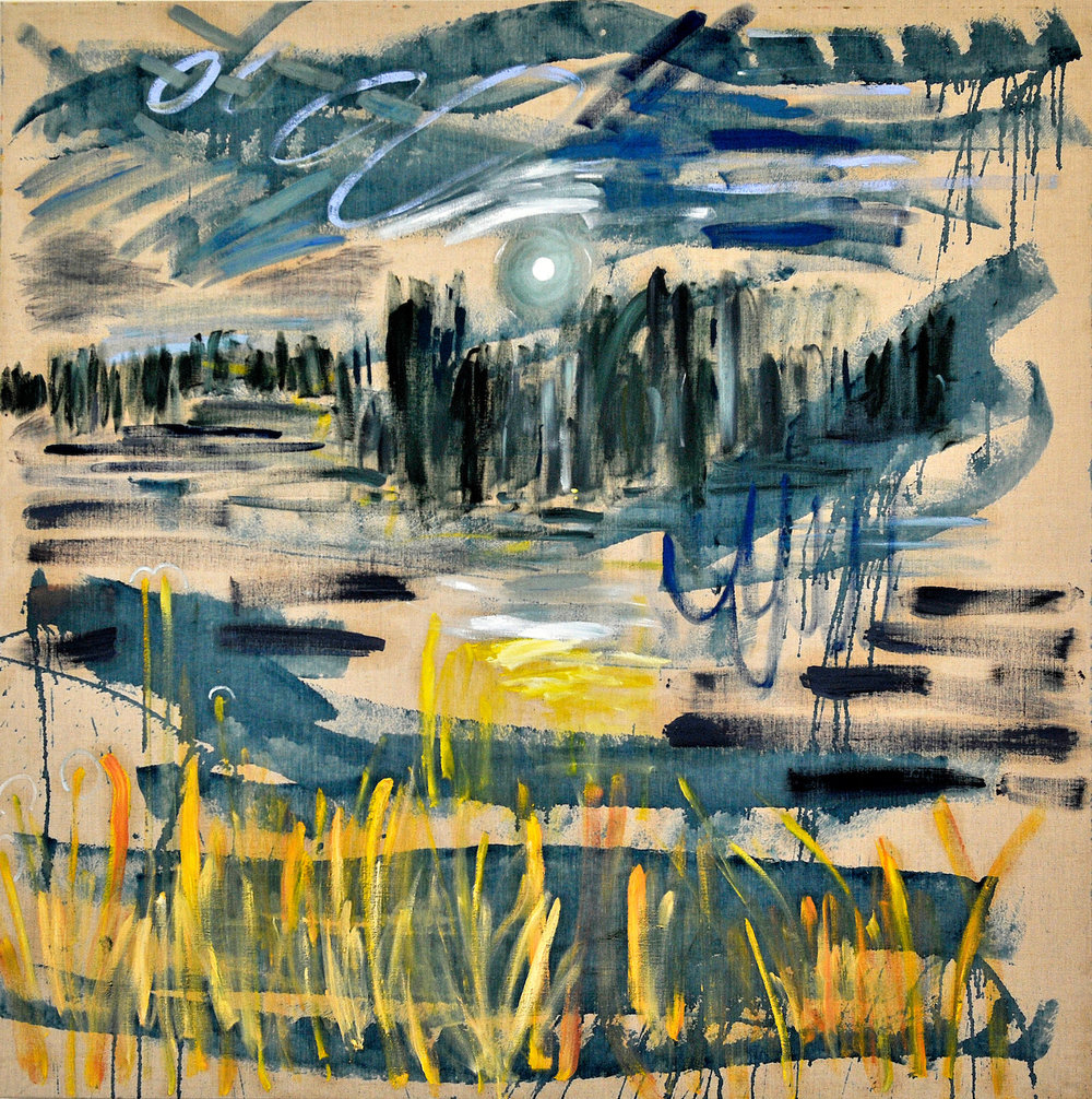 "Summer No. 13.  2016. Oil, oil pastel and housepaint on linen. 74"" x 74""."