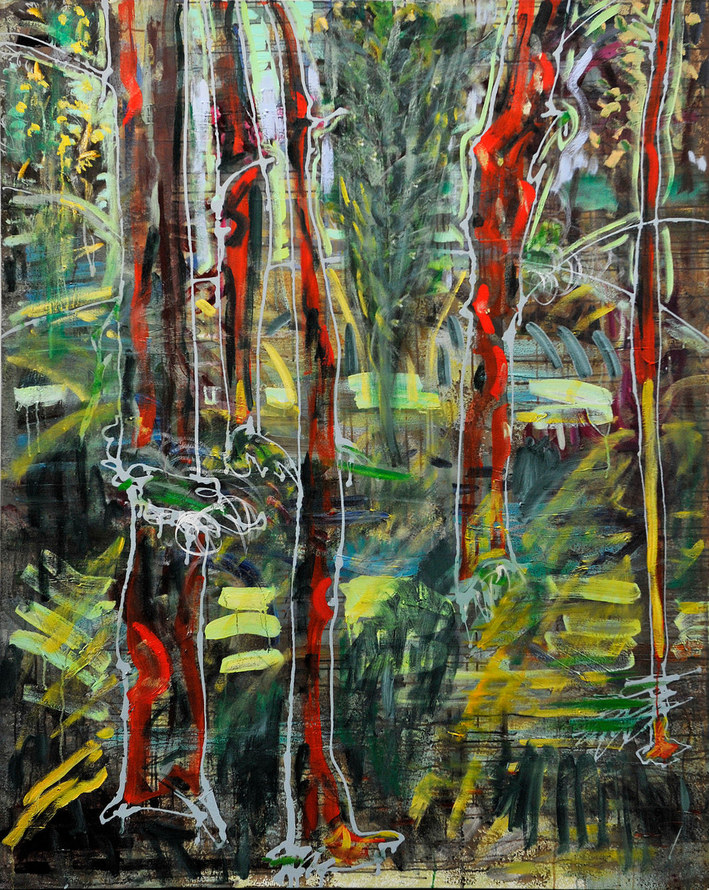 "Red Trees.  2016. Oil and housepaint on canvas. 60"" x 48""."
