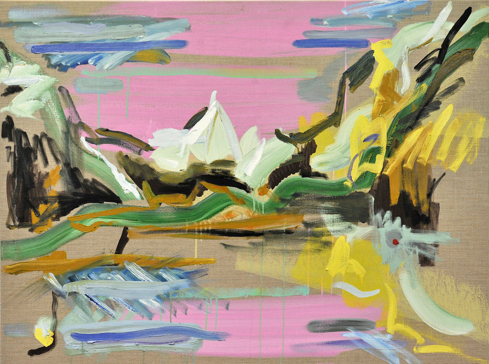 "Pink Mountain.  2017. Oil and housepaint on linen. 36"" x 48""."