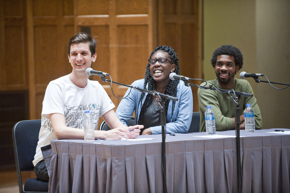 Josh Sharp, Obehi Janice, and Gary Richardson at  You're The Expert  live at Vassar College