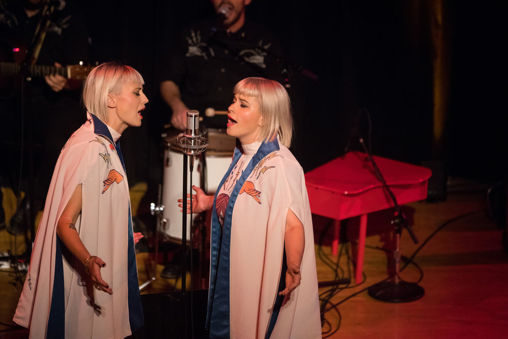 Lucius singing at  Modern Love Live  at Town Hall in NYC (photo by David Andrako)