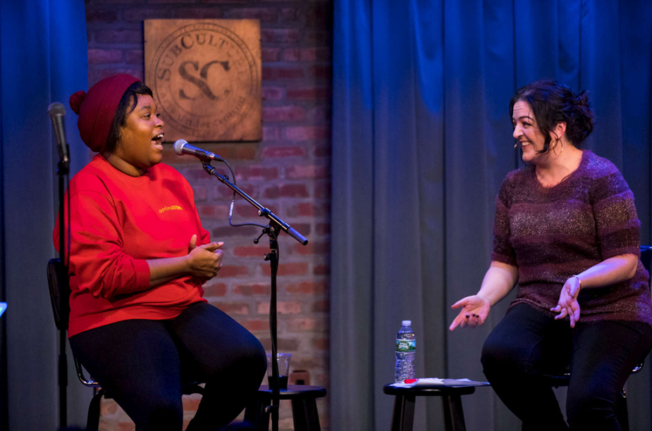 Aminatou Sow (Tech LadyMafia) and Maeve Higgins at  Maeve In America Live  at SubCulture in NYC (Photo by David Andrako)
