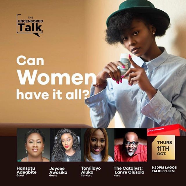 "Tune in to Lagos Talks 91.3FM this evening to hear the co-hosts @lanreolusola and @taaluko as well as myself & @hansatu_adegbite speak on the topic ""Can Women Have it All"" on the heels of the upcoming @wimbizng annual conference themed Unstoppable You: Reinvent & Reinvigorate"