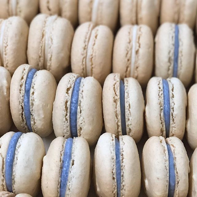 Wedding season is fast approaching and we are booking up for fall and winter weddings! When planning your event why not have these muted macarons on your dessert table (which may even work as your something blue 😉!) Macarons in the case this week are... Wedding cake💍 Coffee☕️ Cookie Dough🍪 Butterscotch🧡 Bananas Foster🍌 Salted Caramel 🍮 . . . #tredici #macarons #frenchmacarons #weddingcake #saltedcaramel #butterscotch #bananasfoster #cookiedough #coffee #love #baking #bakery #fromscratch