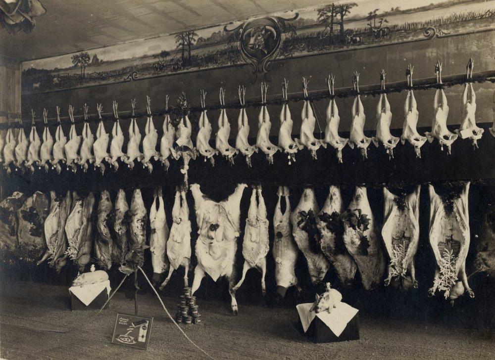 Pioneer Meat Market Decorated for Christmas, circa 1914