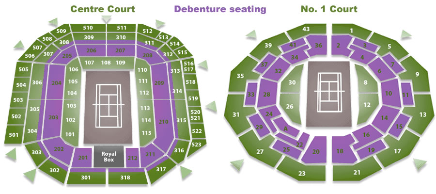 Debenture seating - are indicated in Purple.