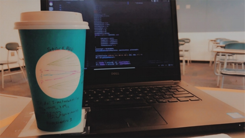 coding! and procrastinating with Stark map doodles on a Starbucks cup :)