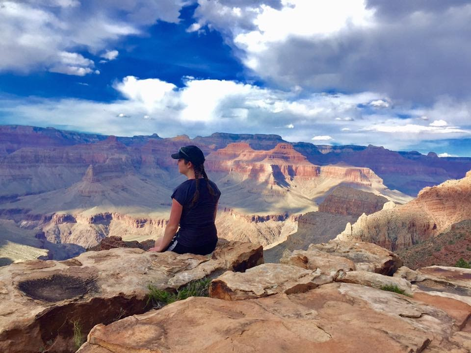 Stopping (sans backpack) for some beautiful views on  Hermit Trail  inside of the  Grand Canyon .