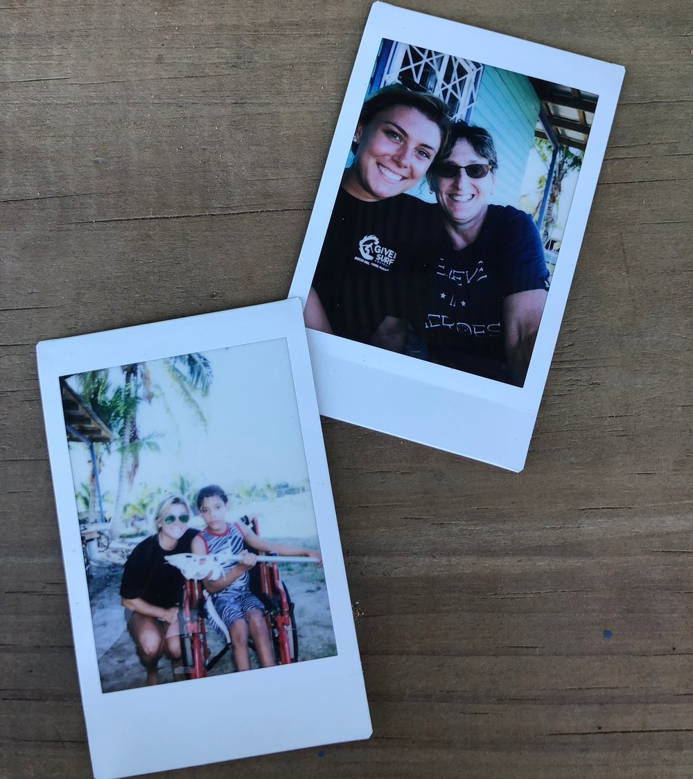 Polaroid photos of Caroline, Karen, and Eybar on Eybar's first day of lacrosse in Bocas del Toro.