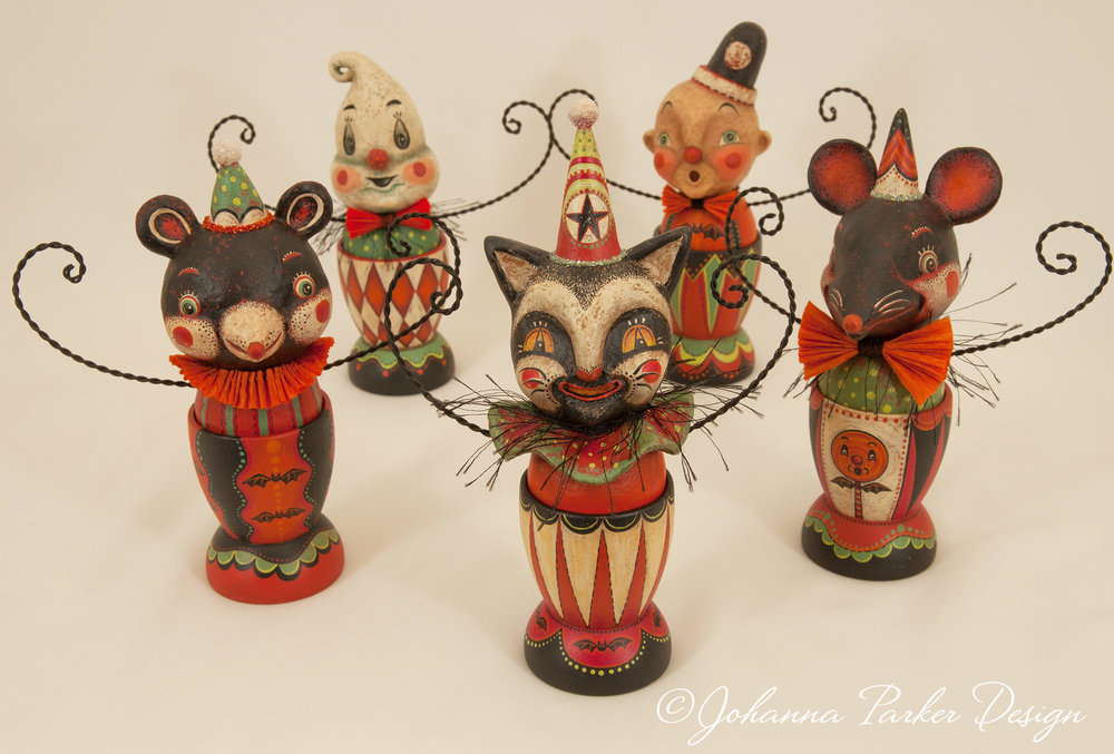 Carnival folk art egg cups