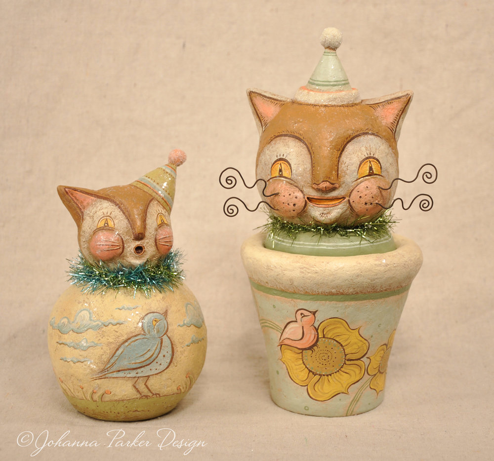 Pastel folk art cats