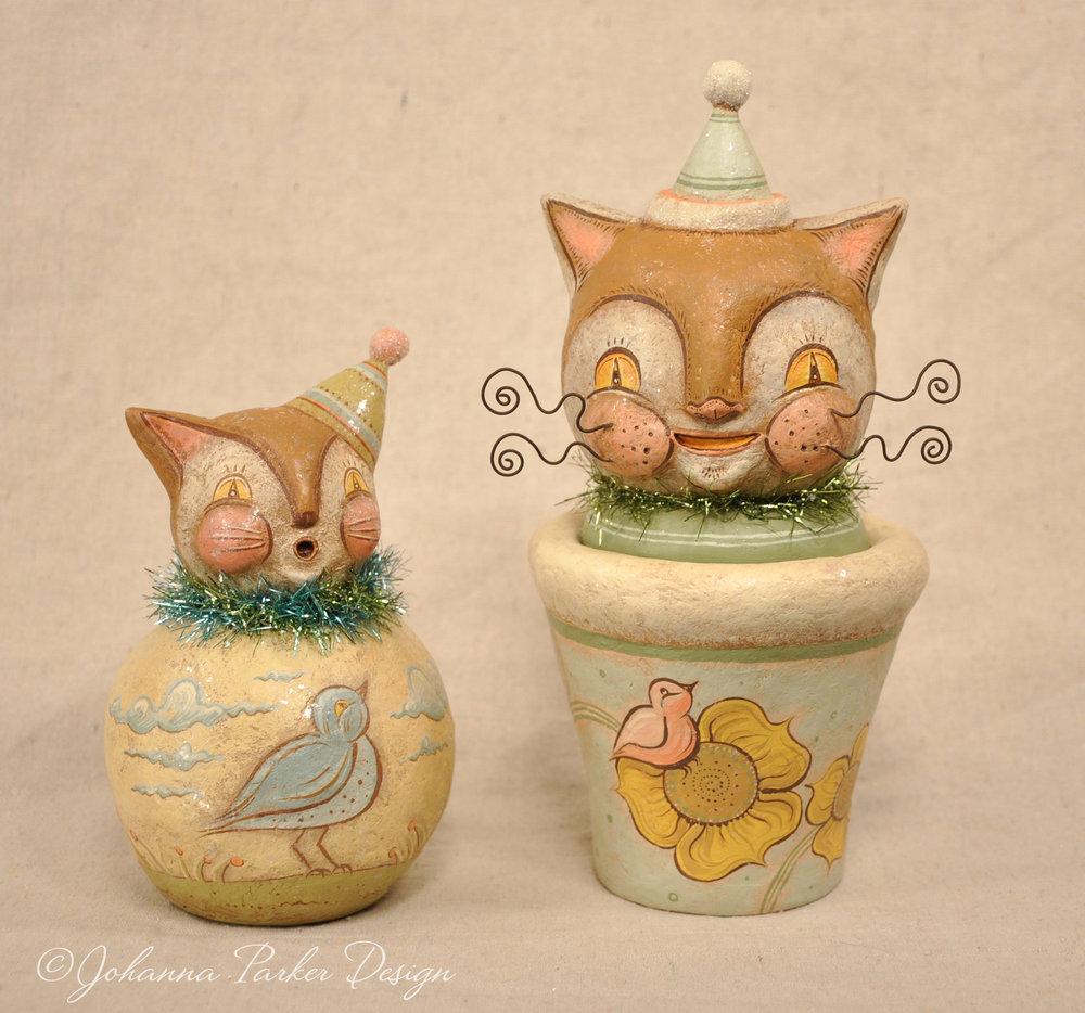Pastel folk art cats