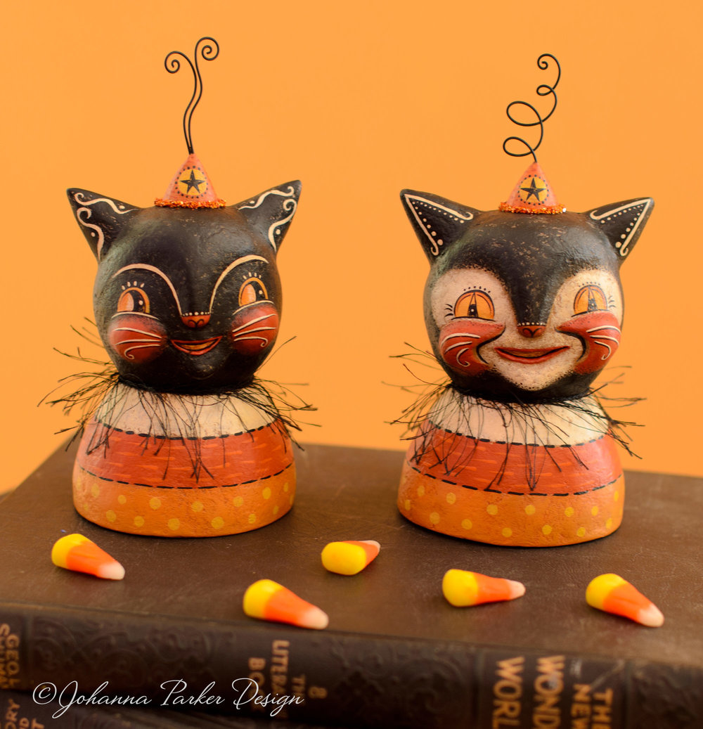 Candy corn black cat busts